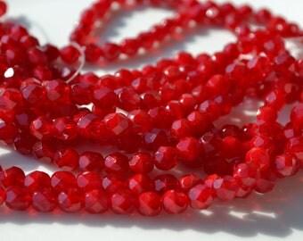 Oxblood Red 6mm Faceted Firepolish Czech GLass Beads  25
