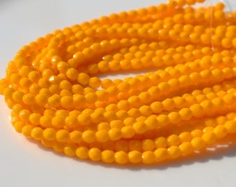 Sunflower Yellow 4mm Faceted Fire Polish Round Beads   50