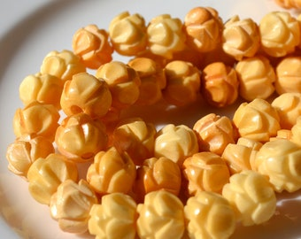 Carved Bone 10mm Beads with Lotus Motif  8