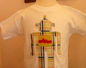 boys short sleeve tshirt with robot applique - SALE