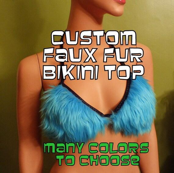 Faux Fur  BiKINI ToP- Custom Colors- Halloween Costume Anime, Fantasy, Cosplay, Burning Man, Cosplay, Halloween, Furry, Plushie