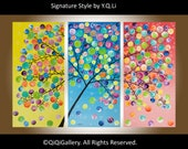 """Sale Art painting Acrylic painting Abstract Impasto swirls tree wall art wall hangings wall decor Home decor """"Spring Blossom"""" by QIQIGALLERY"""