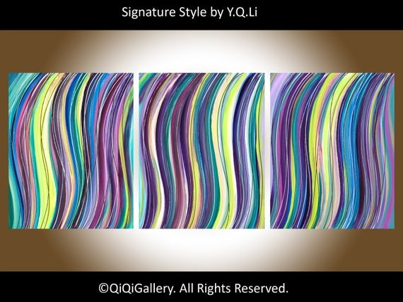 """Abstract Painting Art Original Large Acrylic """"Line Movements V"""" by QIQIGALLERY"""