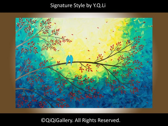 "Abstract painting Hand made Heavy Texture Palette Knife Impasto Tree Branches Birds Wall Decor ""Moonlight Serenade"""