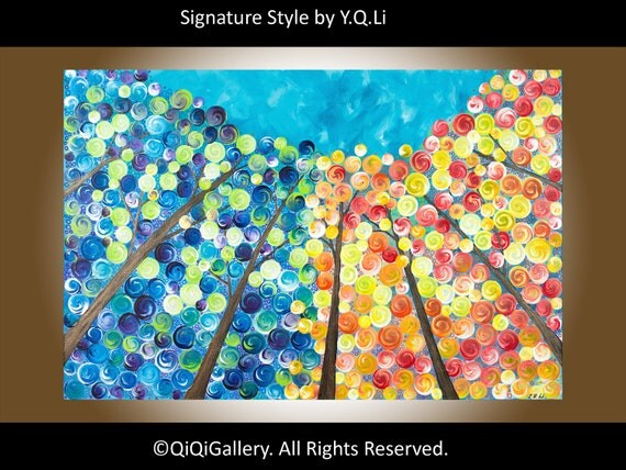 "Landscape Painting Original Modern Abstract Heavy Texture Impasto Painting Trees Wall Décor ""Looking Up"" by QIQIGALLERY"