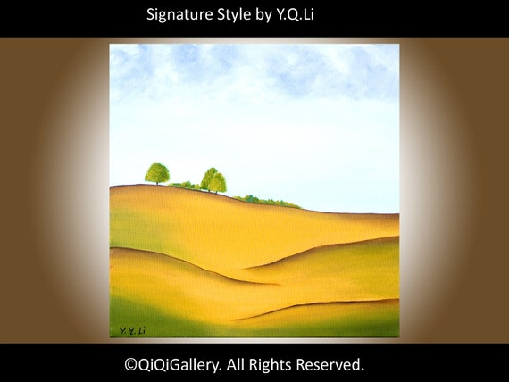 """Abstract Landscape Oil Painting ORIGINAL MODERN Wall Decor """"Spring Hills"""" by QiQiGallery"""