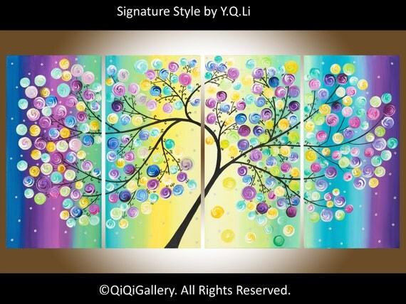 """on sale Contemporary Landscape Abstract tree Painting Heavy Texture Impasto Canvas fine art Tree Branches """"The Wishing Tree"""""""