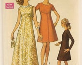 Vintage 60's Sewing Pattern, Dress in Two Lengths, Size 12, Bust 34 Miss Petite