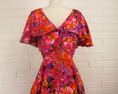 REASONABLE OFFERS ACCEPTED! Vintage 70's Dress Summer Spring Dress with Capelet Flounced Top Very Full Skirt Easter Dress Small Medium