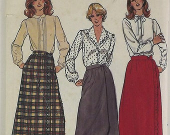Vintage 70s/80's Sewing Pattern, Misses Skirts, Size 10, A-Line Wrap