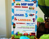 Set of 10 transportation Party Invitations Custom