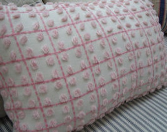 Chenille Pillow Vintage French Pink Cottage Shabby Chic 16x11 Insert
