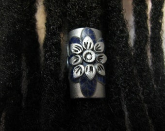 Dread Bead Silver  Flower with Midnight Blue Leaves  You Choose Hole Size