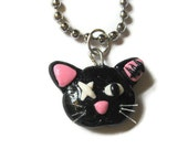 Zombie Cat Necklace, you choose inner ear color