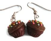 Chocolate Cupcake Earrings, Pastel Sprinkles, Nickel Free