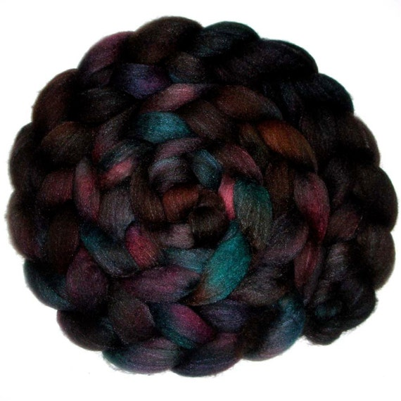 Humbug BFL and Silk Combed Top - Dark Beauty 1, 5.5 oz.