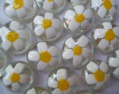 Hand painted Glass Gems Daisy Daisies Flowers for crafts decorations