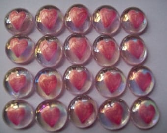 Hand painted glass gems  party favors  shimmer light pink  HEARTS  HEART