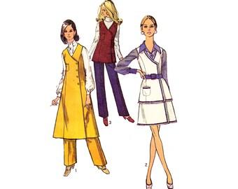 Vintage 60s Tunic Mini Dress Asymmetrical Vest Flare Skirt Pants Slacks Sewing Pattern Uncut Size 12 Medium Bust 34 Simplicity 8662 Unused