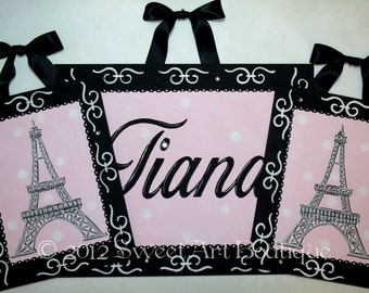 Paris personalized Pink Black Custom personalized canvas name sign wall art Girl Set of 3 paintings eiffel tower children baby decor nursery