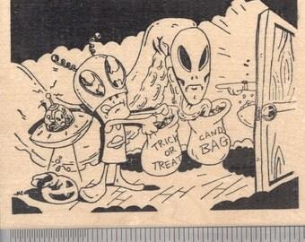 Halloween Alien Trick or Treat Rubber Stamp   N18701 Wood Mounted