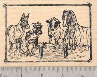 Barn Christmas Nativity Scene Rubber Stamp with donkey, horse, cow, pig, goat, and lamb Q19601- Wood Mounted
