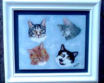 Pet portrait, cat portrait,  multi pet portrait, handmade frame, handpainted portrait from photo, acrylic on wood