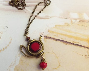 Red,  Brass, Tea Pot,  Necklace