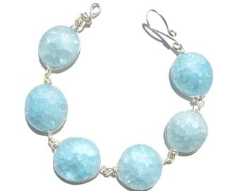 Frosted azure blue bracelet/ necklace
