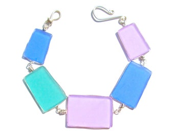Periwinkle, Lilac and Teal Seaglass Bracelet/ Necklace