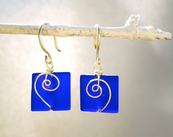 cobalt blue seaglass square earrings with silver spirals