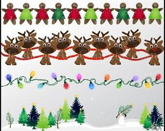 Christmas Borders set 1 INSTANT DOWNLOAD 5 digital files Snowman Santas reindeer Rudolph gingerbread dolls christmas lights christmas trees