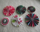 Christmas Flowers...6 Piece Set of Very Merry and Bright Christmas Theme Scrapbooking Paper Flower Rosettes