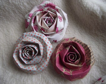Scrapbook Flowers...6 Piece Set of Very Shabby Chic Lost and Found Scrapbook Paper Flower Rolled Roses