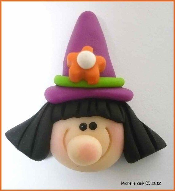 SALE Polymer Clay Bead or Bow Center Purple Hat Witch
