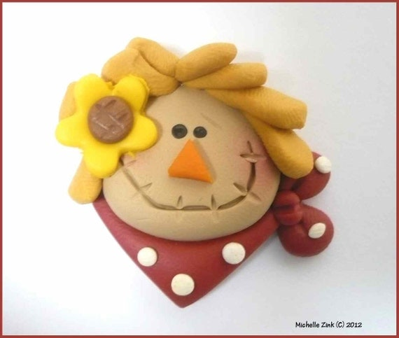 NEW Polymer Clay Bead or Bow Center Scarf Scarecrow