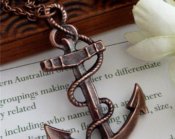 LARGE Copper Plated Sailor Anchor Charm Long Necklace