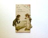 Vintage Valentine Card, Delicate, soft Pink