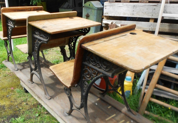 antique school desks 3 wooden student desks on rail iron detail