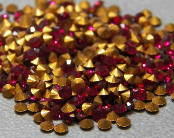 Vintage Swarovski Ruby Article 1012 Round 6ss Faceted Crystal Rhinestones 2mm (144)