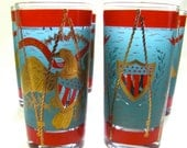 Vintage 60s cocktail glasses Mid Century Primary Golden Eagle Americana political VOTE