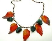 Vintage Fall Leaf Necklace Acorns leaves Red Orange Green Autumn Harvest 1940s Mid Century