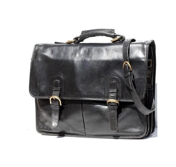 Black Leather Briefcase Bag
