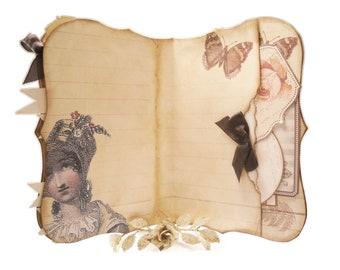 Jane Austen Journal, Pride & Prejudice, Bridal Shower Guestbook, Secret Pocket, Janeite, Art Journal, Jane Austen Gifts, Regency, Darcy