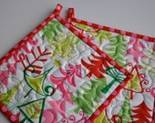 Christmas Potholders,  Yule Trees, Michael Miller, Quilted Potholders, Contemporary Kitchen Potholders
