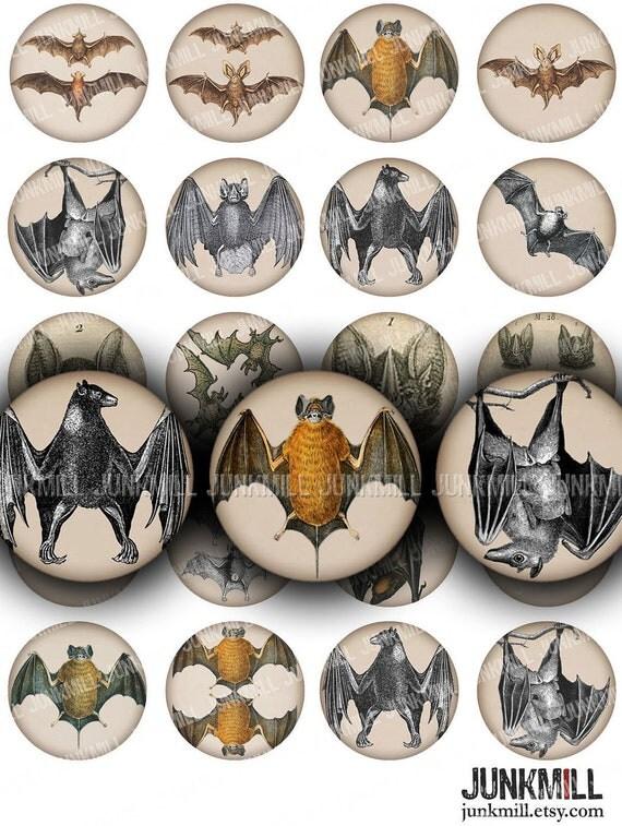 "BATS - Digital Printable Collage Sheet - 1"" Circles, 25 mm Round - Vintage Vampire Bats, Spooky Gothic Halloween Images, Digital Download"