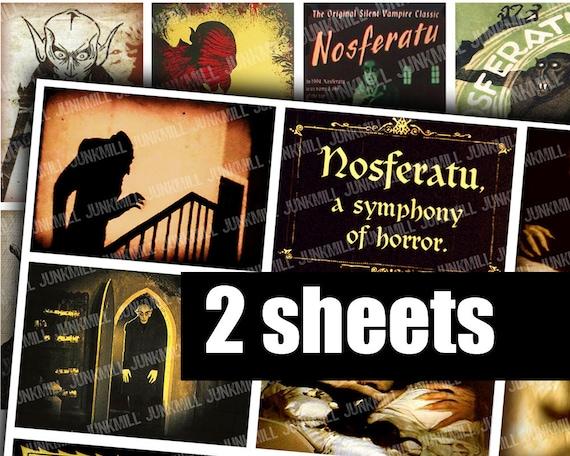 NOSFERATU - Digital Printable Collage Sheet -  Vintage Vampire Film Posters with Max Schrek, Murnau, Dracula, ATC, Instant Download