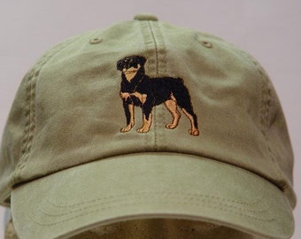 ROTTWEILER DOG HAT - One Embroidered Men Women Cap - Price Embroidery Apparel - 24 Color Caps Available