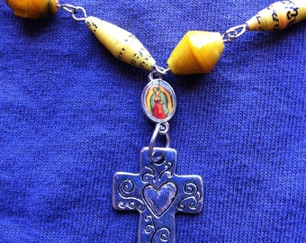Our Lady of Guadalupe Heart Crucifix Yellow African Paper beads