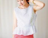 Sale Black Polk-a-dot Peplum Top with Neon Piping - White Background - M